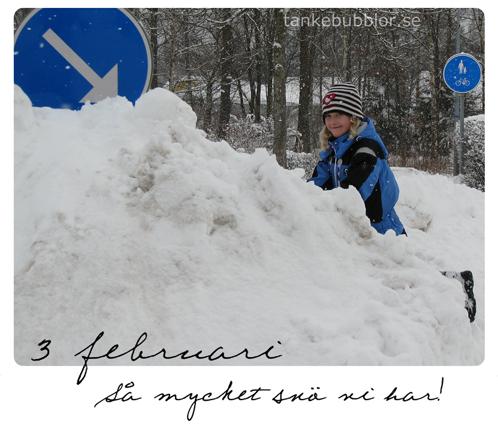 berg av snö 3 februari