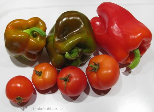 paprika och tomat