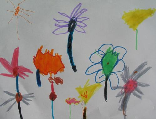 teckning med blommor