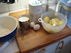 mjöl, mjölk, ägg, potatis,