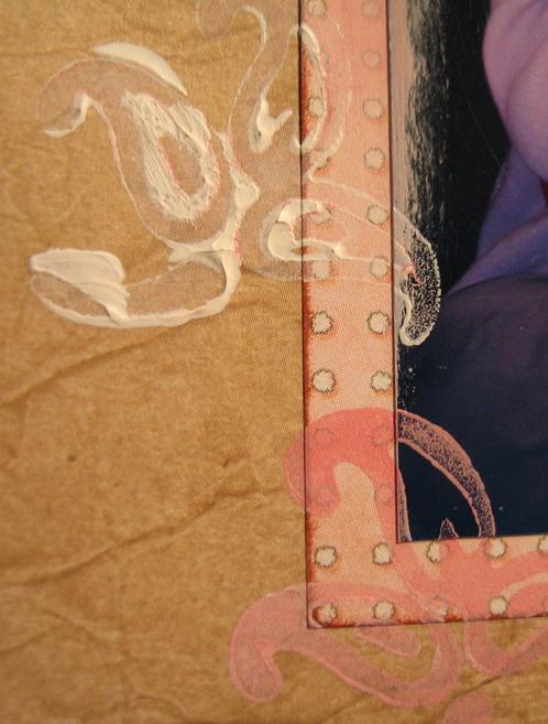 stämplat med akrylfärg, inkat kanter